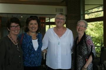 Classmates reminisce at the Point Grey Golf Club - Valerie Hodgson, Valerie Jones (Halpin) Pam Bibby (McLaughlin), Darcy Cooper (Vogan)
